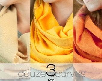 SALE Gauze Infinity Scarves, 3 for 19.99,  Boho Cotton Gauze Scarf, Lightweight 100% Cotton Circle Bohemian Accessory Clearance Grab Bag