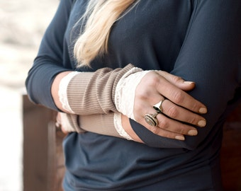 Lace Arm Warmers, Long Fingerless Gloves Wrist Warmer Bands, Womens Gift for Her Wife Girlfriend, Tattoo Covers Sleeve Extender, Brown Cuffs