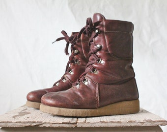 Vintage Oxblood Leather Lace Boots Sz 6
