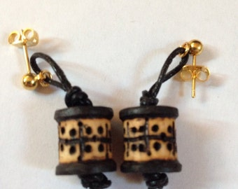 Woodburned & Leather Dotted Design Mini Spool Earrings