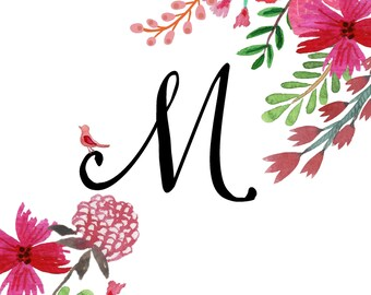 Letter or Name Custom Wall Art, Pink flowers, Perfect for girls room or nursery, Monogram, Download, Printable