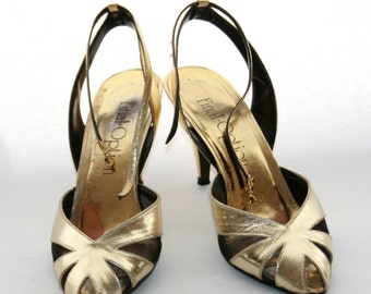 Gold Dancing Pumps 70s style disco fabulous gold lame Size 75