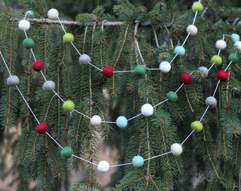 I'll be Home for Christmas Garland- Felt Ball Garland- Christmas Tree Garland