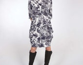 Exaggerated Fulness Jersey Dress with Center Front and Center Back Seam and Long or Elbow Sleeve