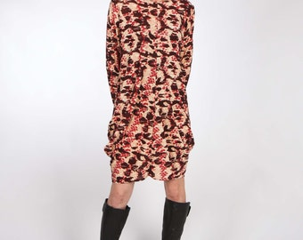 Long or Elbow Sleeve Jersey Dress with Center Front and Center Back Seam and Exaggerated Fulness