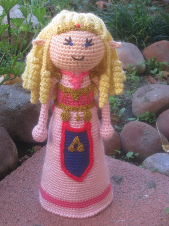 Crochet Princess Zelda Inspired Doll, Plush Stuffed Toy Children Gift Geekery Video Game Triforce Comic Con Cosplay MADE TO ORDER