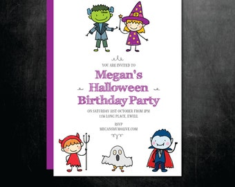 Halloween Birthday Party Invitation - Printable Children's Kids Cute Characters - Digital File