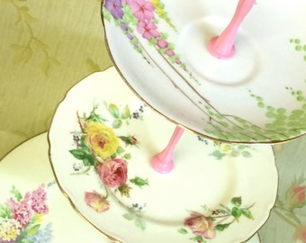 Pastel Pink Green Yellow & lilac 3 tier Vintage Cake Stand
