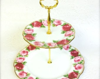 Royal Albert Old English Rose 2 tier Cake Stand
