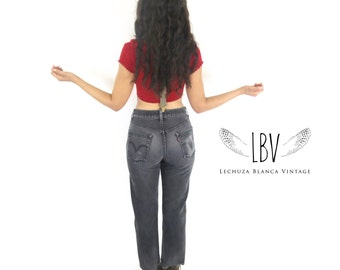Vintage 90s High Waisted Levi's 505 Black and Perfectly Worn