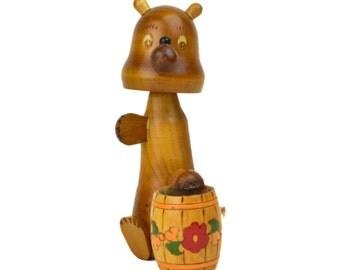 Vintage Bobble Head Bear // Russian USSR Wooden Nodder Motion Toy // Wood Honey Bear Figurine Collectible Souvenir