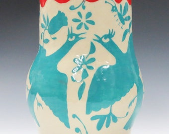 Ceramic VASE Otomi Animals  - SGRAFFITO Hand Built Vessel - Mexican-Style Pottery - Whimsical Carved Birds Animals