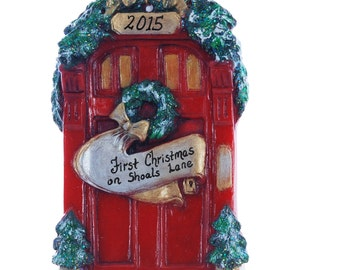 Christmas Ornament - Personalized ornament red door for a family name, new home ornament - Red door ornament personalized free (f101