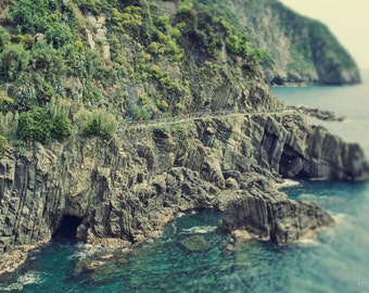 Coastal Photography, Ocean Art Print, Cinque Terre, Italian Riviera, Italy Photo, Large Wall Decor, Green, Blue, Lovers Walk, Sea, Coastline