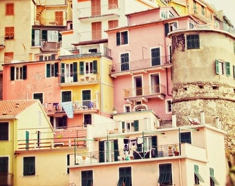Travel Print, Pastel Houses, Italy, Cinque Terre, Fine Art Photography, Pink and Yellow, Large Wall Art, Travel Photo, Nursery Decor
