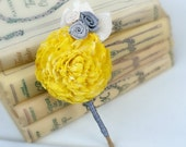 Ready to Ship! Custom Dyed Sunshine Yellow Wedding Boutonniere - Sola Flower, Lace Leaves, Grey Rosettes, Gray, Groom, Groomsmen - Sunnybee