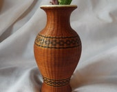 Small Woven Vase Vintage Greek Made Straw Outer Porcelain Interior