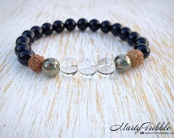 Quartz Bracelet, 7th Chakra, Boho Bracelet, Healing Crystals, Gemstone Bracelet, Onyx Bracelet, Pyrite Jewelry, Bali Rudraksha Mala Beads