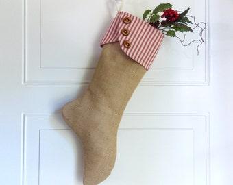 Burlap Christmas Stocking Burlap Holiday Stocking Primitive Rustic Country Decor Burlap Elf Stocking Shabby Chic Burlap