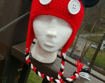 Mickey Mouse Inspired Crochet Hat with Ear Flaps & Braids - Sizes Newborn to Adult - MADE TO ORDER
