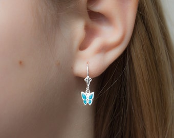 Butterfly Earrings for girls , Children's Butterfly Earrings Turquoise , Blue Butterfly earrings , Sterling Silver Leverback , Kids Earrings