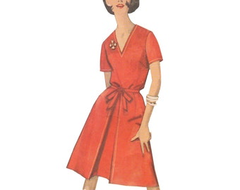 Simplicity 5302 Vintage 1960s Sewing Pattern Size 14 Bust 34 Blouse Shorts Back Wrap Skirt Collarless V Neck Fitted Inverted Pleat Shorts