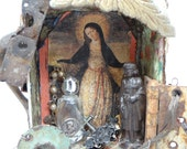 Vintage Nicho Collage, Madonna, Virgin Mary, Hand Made Religious Assemblage Altar Shrine