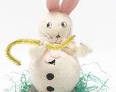 Vintage 1950's Easter 4 Inch Spun Cotton Bunny Rabbit, Hand Painted Face