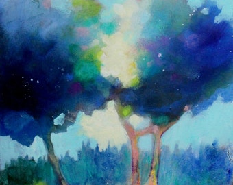 """Abstract Tree Painting, Original Landscape, Acrylic Work on Paper """"Blue Trees"""" 12x12"""""""