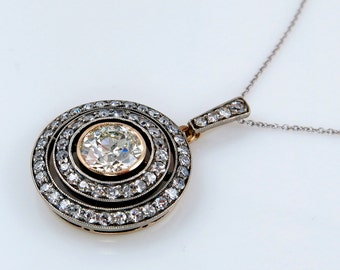 2.33ct Antique Vintage VICTORIAN DIAMOND Pendant Necklace Drop in Silver and Gold