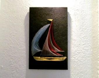Vintage Midcentury String Art Eames Era Sailboat Primary Colors Thread & Nails on Black Felt MCM Wall Hanging