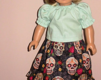 """Handmade Doll Clothes fits/for 18 inch American Girl Doll ~ """"Scary Beautiful"""" Gray and Lt Green Floral Skulls Print Long Skirt & Shirt Set"""