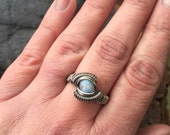Wire Wrapped Ring, Moonstone Ring, Size 7.5 Moonstone Ring, Sterling Silver Moonstone, Wire Wrap Jewelry, Sterling Moonstone Ring
