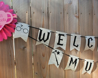 Harry Potter WELCOME WEE MUGGLE Baby Shower Banner Book Pages Harry Potter Baby Shower