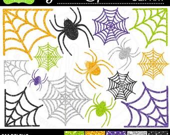SALE  Glitter Clipart - Glitter Halloween Clipart - Spider Glitter Clipart - Spider Clipart - Commercial Use