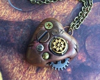 Steampunk Bronze  Heart Pendant Necklace - Embedded Screws, Nails, Vintage Charm