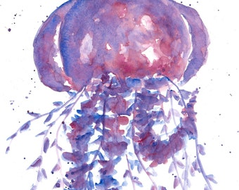 animal art, beach painting, beach art, original watercolor, watercolor jellyfish, animal watercolor, jellyfish painting, jellyfish art, 8X10