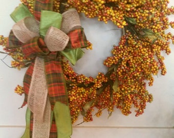Fall Wreath, Fall Berries Wreath, Fall Bow Wreath