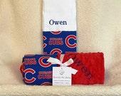 Chicago Cubs Baby Name Blanket Stroller Crib Blanket Toddler Minky NAME Embroidered Gift Set Large Minky  Baby Boy Girl Baseball