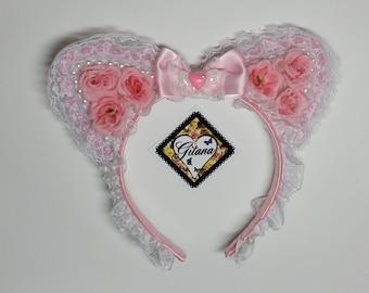 Lolita Headband- Lolita Accessories- Lolita- Nekomimi- Cat ears- Cat Headband- Lolita Cat Headband-Pink-Fairy kei-lolita Fashion-harajuku