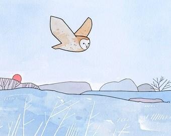 Barn Owl and Frosty Fields illustration print, nursery wall art, soft colors