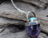 Reserved for Lara ONLY  / Amethyst Crystal Talisman Necklace with Nacozari Turquoise