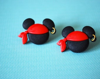 Halloween Mickey Mouse Earrings -- Pirate Mickey Mouse, Mouse Ears, Halloween Earrings