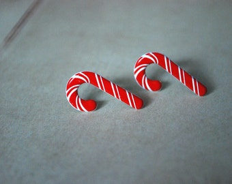 Candy Cane Earrings -- Candy Cane Studs, Christmas Earrings