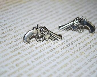 Gun Studs -- Revolver Pistol Earrings, Gun Earrings