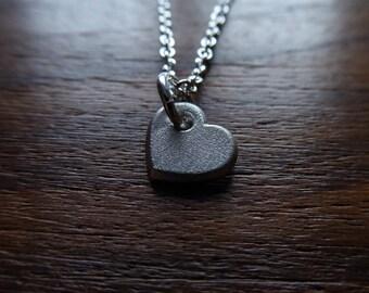 Small Plain Silver Heart Pendant Necklace