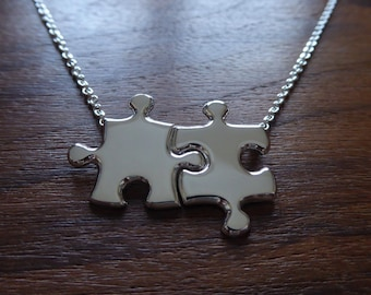 Silver Best Friend Puzzle Pendants on One Chain