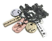 Stamped Jewelry Personalized Jewelry  Stamped Jewelry - Mixed Metal Kids Names Cluster Custom Personalized Necklace