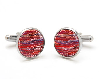 Abstract Pattern Cufflinks - Red Ripple Striped Cufflinks - Cool and Unique Gifts for Men - Suit Accessories for Men - Best Gifts for Men