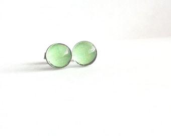 Mint Green Stud Earrings, Mint Green Earrings, Sea Foam Green Earrings, Small Stud Earrings, Dainty Earrings, Sensitive Ears, Gift Under 20